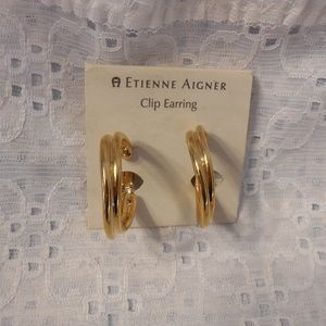 Etienne Aigner Clip On Hoop Earrings in Gold Tone